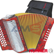 HOHNER CORONA II Classic 31 Button FBE Fa Diatonic Accordion - Red + Bag, Straps