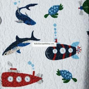 7pc TWIN QUILT SHARKS Submarine Scuba Diving Sea Life Ocean Swimming Great White