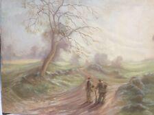 Vintage Oil Painting On Canvas Signed Stephen Webber Old Gents Talking
