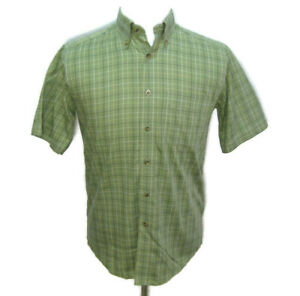L.L. BEAN Mens (Size Small) Green Checks Short Sleeve Button Down Shirt Cotton