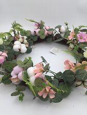 """Handmade Wreath Front Door Hanging 43cm 16.9"""" Artificial Flower real cotton"""