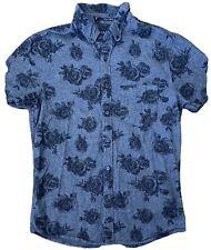 21 MEN Button Up Roses Shirt Fitted Dress Flowers Medium M