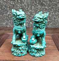 Hand-Carved Chinese Natural Turquoise Statue A pair Lion Exquisite Green
