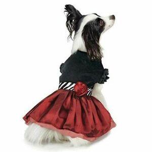 Jolie Party Dog Pet Dress Bow Ruffle Black Velvet Satin Rose Holiday XXS XS