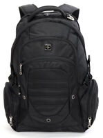 "Swiss 17"" waterproof Laptop Backpack Travel School shoulder Bags SW9725I Black"