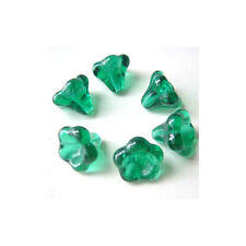 Emerald Green Big Trumpet Flower Beads Czech Glass