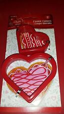 "Set of 2 HEART SHAPE PLASTIC COOKIE CUTTERS 2 1/2"" & 3 1/4""  BAKING SUPPLY"