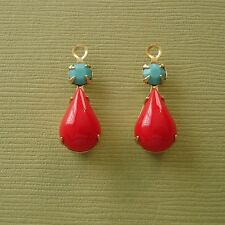 4- Vintage Opaque Red Acrylic Pear Shaped Stone and Round Turquoise Rhinestone.