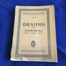 Eulenburg No 425 Score Brahms Symphonie No 1 Op 68 C Minor German English