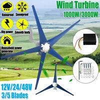 1000/3000W Wind Turbine Generator 12/24/48V 3/5 Blade Windmill Charge Controller