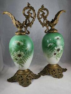 Antique Bristol Glass & Brass Ewers Matching Pair! Green!
