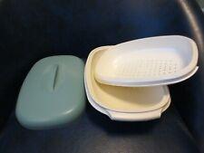 Tupperware - 3 Pc. Microwave Rice Vegetable Steamer - 1273 Blue & White        C
