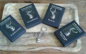 Schlüsselanhänger SCHWEIN LUCKY silber  Glücksbringer im Geschenketui 4 Motive