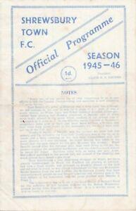 RARE WW2 WAR FOOTBALL PROGRAMME SHREWSBURY TOWN V PETERBOROUGH UNITED 1945-46