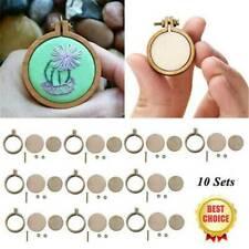 10 Sets Mini Stickerei Hoop Ring hölzerne Kreuzstich Rahmen für Hand selber mach...