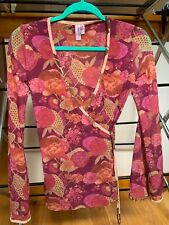 Sweet Pea By Stacy Frati Women's Shirt Faux Crossover Red/Pink Mesh Size M