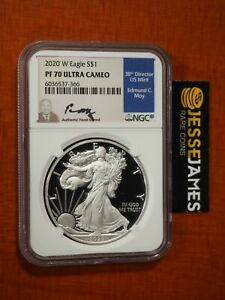 2020 W PROOF SILVER EAGLE NGC PF70 EDMUND MOY HAND SIGNED BLUE LABEL