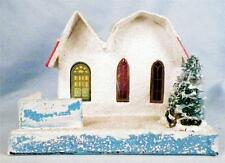 Vintage Christmas House Train Yard Putz Japan White Pink 2 Part Roof Tree Fence