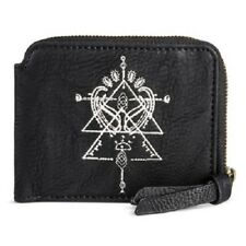 Womens Faux Leather Zip Around Wallet with Geometric Pattern Black by Mossimo