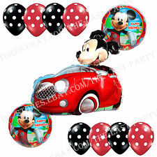 11pc Birthday Party Mickey Mouse Car Anagram Foil Balloons Polka Dot Decorations