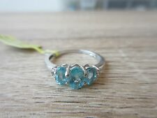 Madagascar Paraiba Apatite Cambodian Zircon Ring Sterling Silver Size 6, 9 Opt