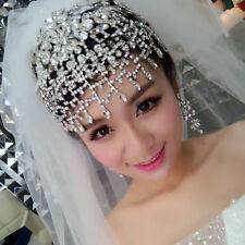Crystal Wedding Bride Hair Accessories Tassels Rhinestone Frontlet Tiara Jewelry