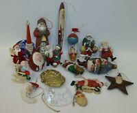 Estate Lot of 20 Assorted Santa Claus Christmas Ornaments