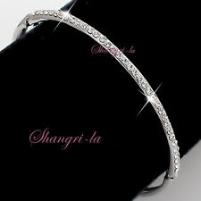 18K White GOLD GP Silver Wedding Bridal BRACELET With SWAROVSKI CRYSTAL F690 S