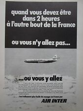 1972 PUB COMPAGNIE AERIENNE AIR INTER AIRLINE CARAVELLE  AIRLINER FRENCH AD
