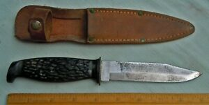 Vintage USA Marked Carbon Steel Hunting Knife w/Leather Sheath