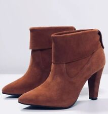NEW Free People Shultz Joanna Heeled Boots Size 41 US 10 Brown Suede