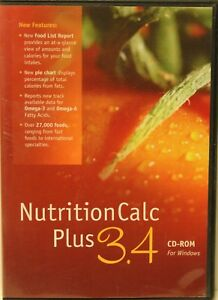 Nutrition Calc Plus 3.4 CD-ROM for windows monitor diet & health goals welness