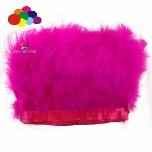 2 Meter Size 6-7 INCH Lovely Short Fluffy Dyed Rose red Turkey Marabou Feathers