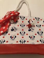 Disney Tote Minnie Mouse Polka W/Scarf Girls Swim Nautical Rope Bag 11x15 New