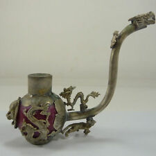 Old Handwork Jade inlay Pipe Tibet Silver Dragon Smoking Pipe Collectible