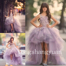 New Flower Girl Dresses Hi-Lo Purple Tulle Tutu Birthday Party Formal Ball Gowns