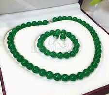 Fashion 12mm Natural Green Jade Gemstone Beads Necklace Bracelet Earrings Set
