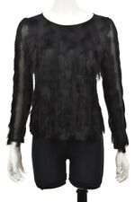 NEW Ann Taylor Womens Top Size S Petite Black Long Sleeve Blouse Shirt