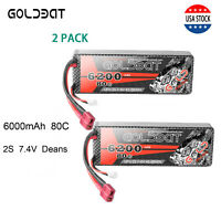 2X 80C 6200mAh 7.4V RC 2S Lipo Battery Pack Deans Plug For Car Truck Buggy Boat