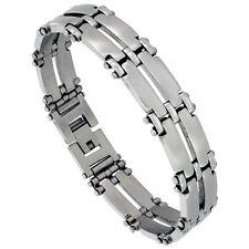 Stainless Steel Satin Finish Double Row Bar Link Bracelet