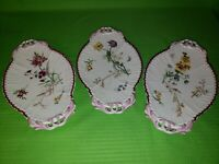 Two's Company Lot of 3 Floral White Relish Dish; Dresser Tray; Pink / Dark Pink