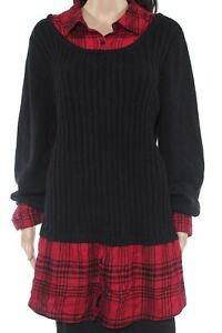 Style & Co. Womens Sweater Red Black Size 2X Plus Collared Plaid 2Fer $69 122