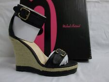 Michael Antonio Size 8.5 M Gimli Black Ankle Strap Wedges Womens Shoes