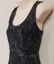 Size XS 6 JACQUI E sleeveless sheath midi dress black charcoal floral textured