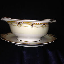 MEITO CHINA N2007 GRAVY BOAT & UNDER PLATE SCROLLS CROSSES SWAGS TAN EDGE GOLD