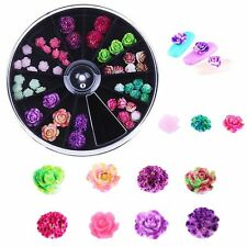 12 Colors Wheel DIY Resin Nail Art Flowers Manicure Decoration 3D Rose