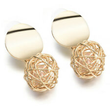Fashion Women Gold Plated Round Ball Pearl Dangle Drop Earrings Stud Jewelry HOT