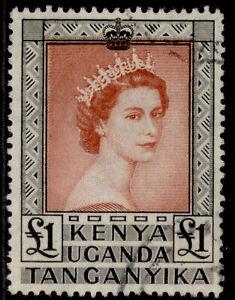 KENYA UGANDA TANGANYIKA QEII SG180, £1 brown-red & black, FINE USED. Cat £22.