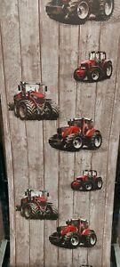 Red Tractor, Brown Wooden Panel Wallpaper