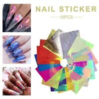 16Pcs Holographic Fire Flame Hollow Stickers Fires Manicure Stickers Nail Art